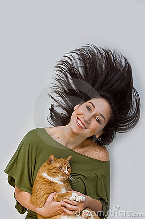 Woman holding cat