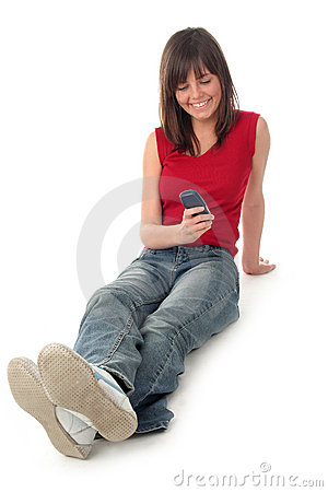 Free Woman Holding Cell Phone Stock Image - 699541