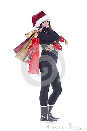 Woman holding christmas shopping bag