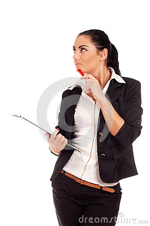 Woman holding clip board