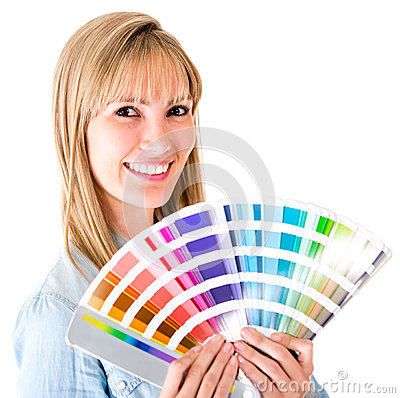 Woman holding a color guide