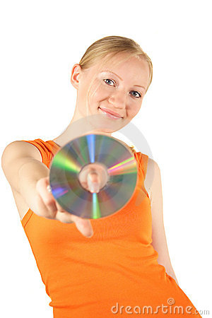 Free Woman Holding Compact Disk Royalty Free Stock Photos - 2524138