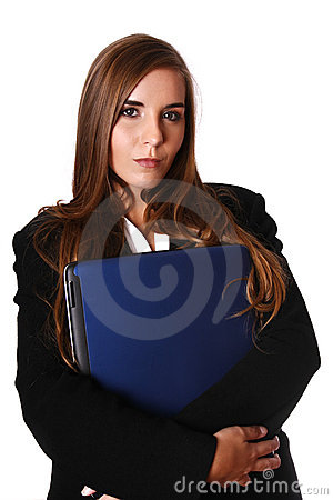 Woman holding a computer