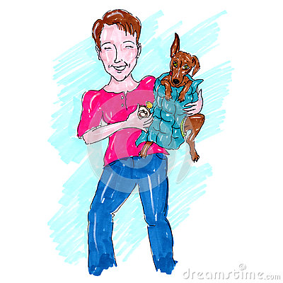 Woman Holding a Dog Illustration