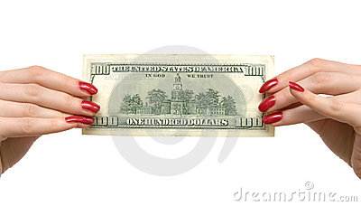 Woman holding dollar
