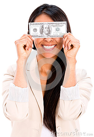 Woman holding a dollar bill
