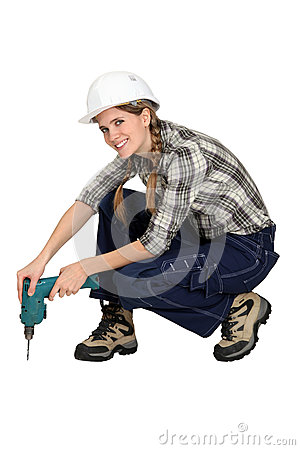 Woman holding drill