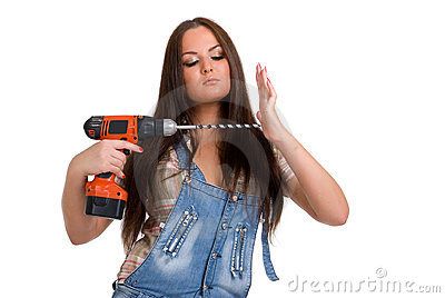 Woman holding drill 3
