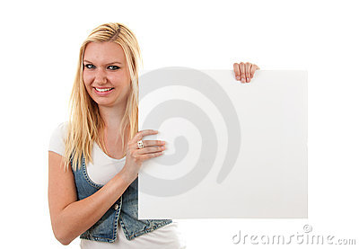 Woman is holding empty board