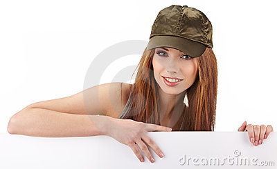 Woman holding empty white board