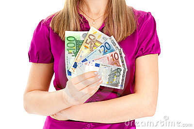 Woman holding euro in her hands