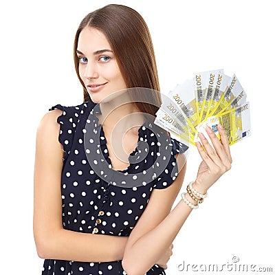 Free Woman Holding Euro Money Stock Photo - 39625740