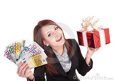 Woman holding euro money, and gift box.