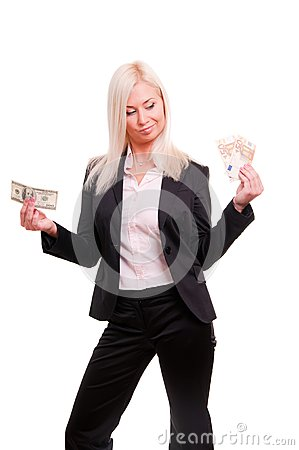 Woman holding euro in one hand and dollars in ano