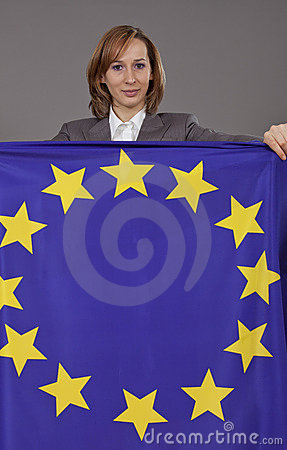 Woman holding european flag