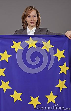 Woman holding european flag