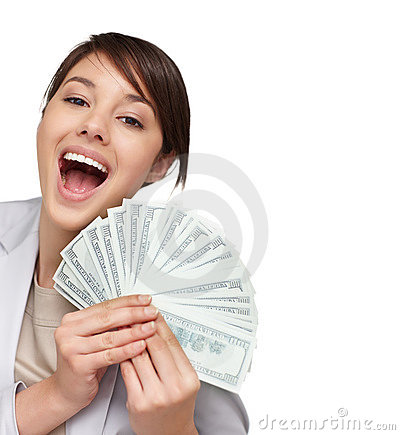 Woman holding fan of American dollars