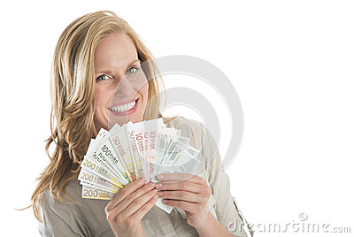 Woman Holding Fanned Euro Banknotes Against White Background