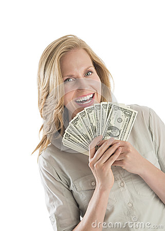 Woman Holding Fanned One Dollar Bills