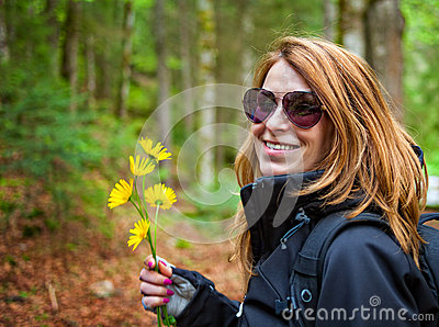 Woman holding flowers