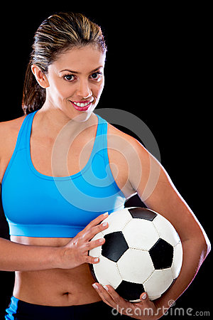 Woman holding a football ball