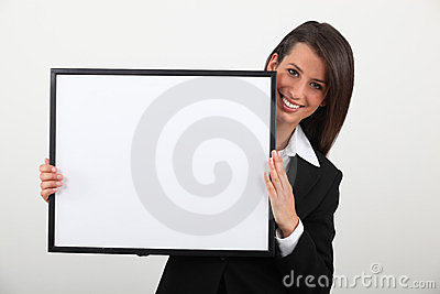 Woman holding a frame