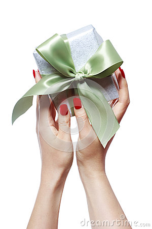 Woman Holding Gift Box Stock Images - Image: 28609684