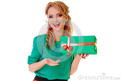 Woman holding  gift box