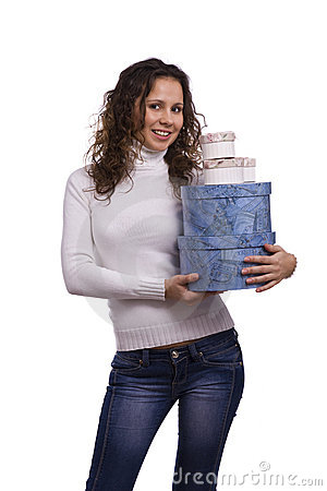 Woman holding gift box for Christmas