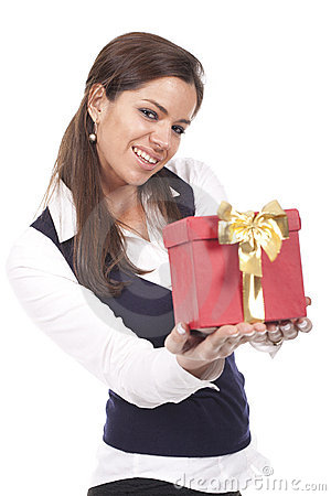 Woman holding a gift red box