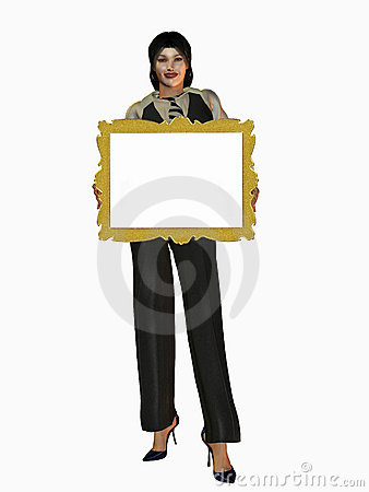 Woman holding gold frame