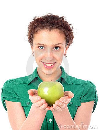 Free Woman Holding Green Apple Royalty Free Stock Image - 2021936