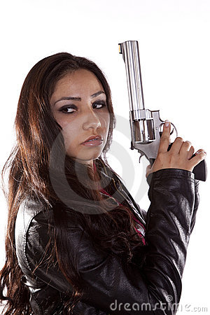 Woman Holding Gun Looking Back Royalty Free Stock Photography Image 15991057