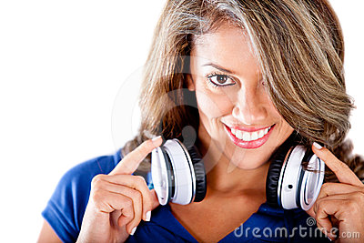 Woman holding headphones