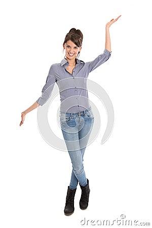 Woman holding her hands like a balance.
