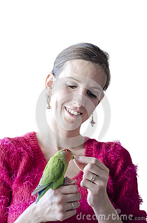 Woman holding her parrot