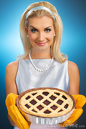 Free Woman Holding Hot Italian Pie Stock Photography - 8121622