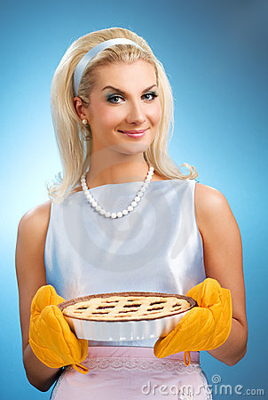 Woman holding hot italian pie