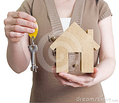 Woman holding house and keys