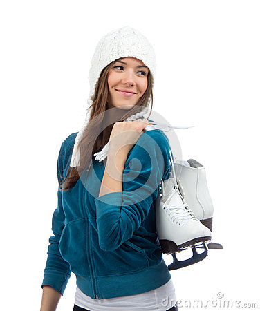 Woman holding ice skates for winter ice skating sport activity