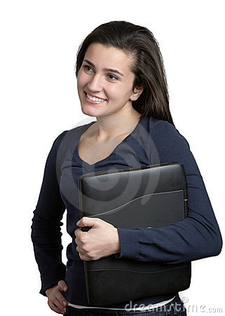Woman Holding Laptop Computer