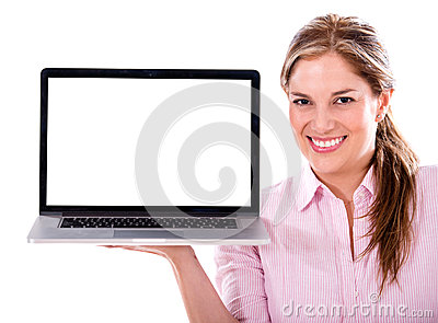 Woman holding a laptop computer
