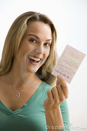 Free Woman Holding Lottery Ticket Stock Photos - 14648433
