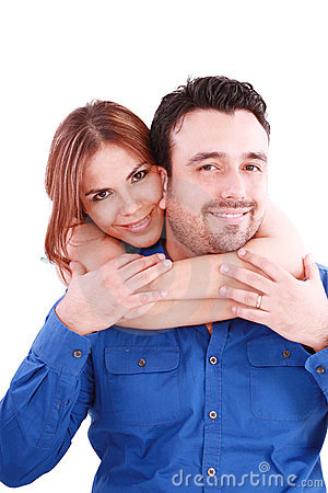 Woman holding with love her boyfriend