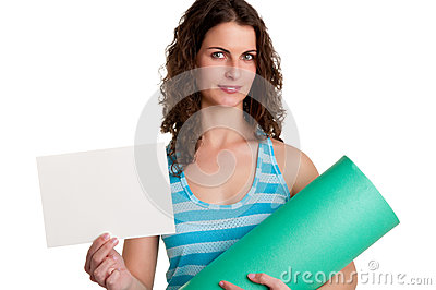 Woman Holding a Mat and a White Empty Card