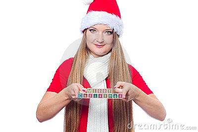 Woman holding Merry christmas text