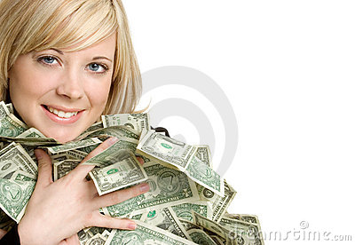 Woman Holding Money Stock Image - Image: 3878701