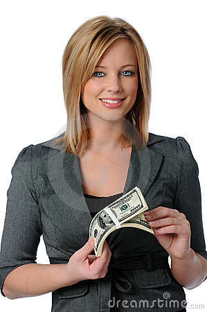 Free Woman Holding Money Royalty Free Stock Image - 4297866