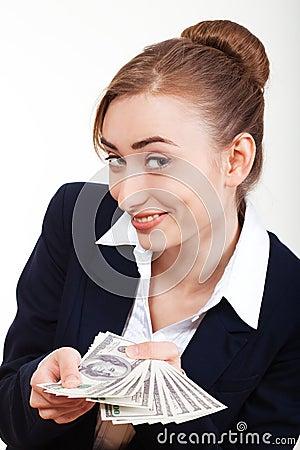 Woman holding money. Concept of money