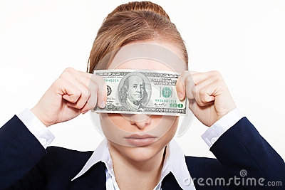 Woman holding money. Concept of money